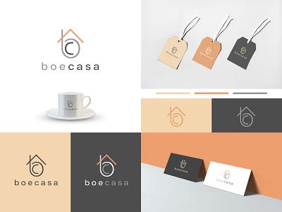 BoeCasa - Logo design friendly interior fresh colorful minimalist typographic kitchenware home furnishing retail creative design logo