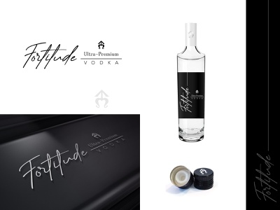 Fortitude - Logo design creative typographic label vodka elegant brand hand drawn logo