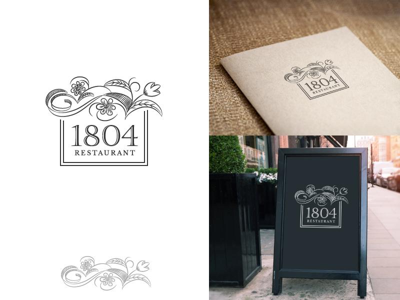 1804 Restaurant - Logo pencil art floral restaurant creative classic design decorative elegant logo art hand drawn
