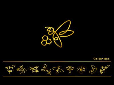 Golden bee - Logo & Brand 1 pen honeybee honey vector brand art hand drawn creative logo