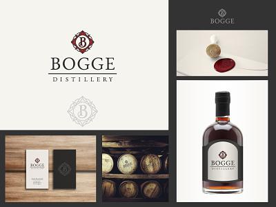 Bogge Distillery - Logo and b_card business card wax seal drink boutique rum monogram creative classy elegant classic hand drawn logo