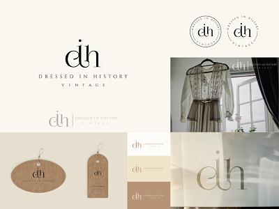 Dressed in History - Logo fashion apparel clothing vintage boutique logotype ligature typographic design elegant logo