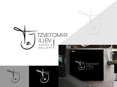 Artist - personal logo signature gallery artist vector creative art hand drawn logo