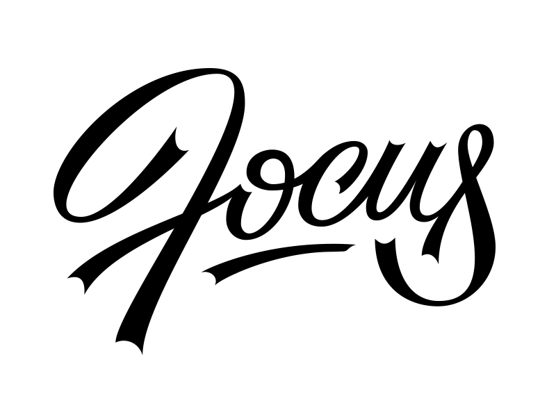 Focus vector lettering focus bezier script calligraphy custom
