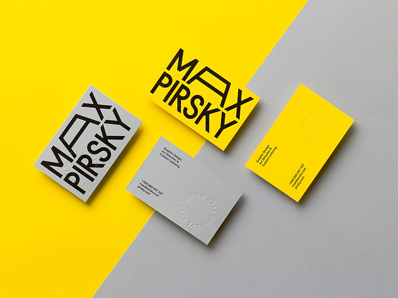 New Cards minimal lettering type custom typography graphic design yellow color business cards