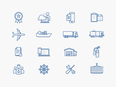 Logistics Icons freight container warehouse ship airplane truck fire hydrant logistics illustration minimal simple icons line