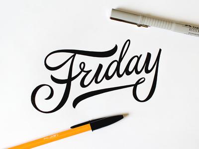 Friday thankgoditsfriday tgif typography type script calligraphy handmade pen sketch custom lettering friday