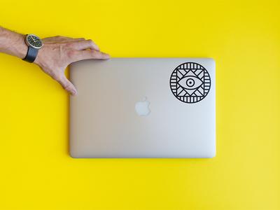 Stickermule transfer sticker macbook branding minimal simple lines logo icon transfer sticker stickermule