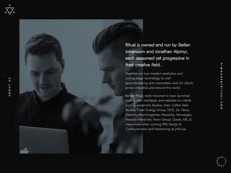 About | Ritual web branding logo ui icon one page minimal design typography gothenburg black debut agency