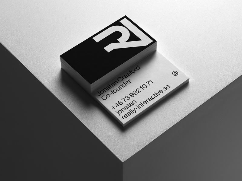 Business cards for Really Interactive card minimalist logo monochrome white black scandinavian minimal business card