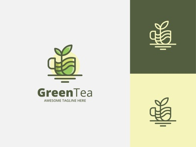 Green Tea Logo cup tea logo logodesign logo template logo beverage greens drink tea shop tea green green tea