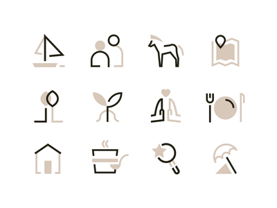 Jaśminowy Sad restaurant lake beach eco horse pictogram nature icons set icons