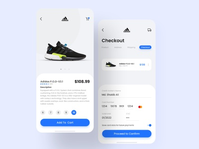 Product Checkout ux ecommerce app credit card credit card checkout ui apple add to basket clean app shoes app shoes ecommerce car product payment app payment adidas check out checkout add to cart