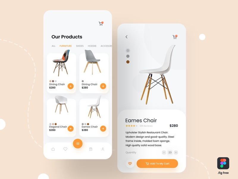 E-commerce App UI (Free Figma File) ui  ux design free figma design freebie apple ux ui mobile interaction furniture e-commerce app ecommerce application app design apparel app ios app ios