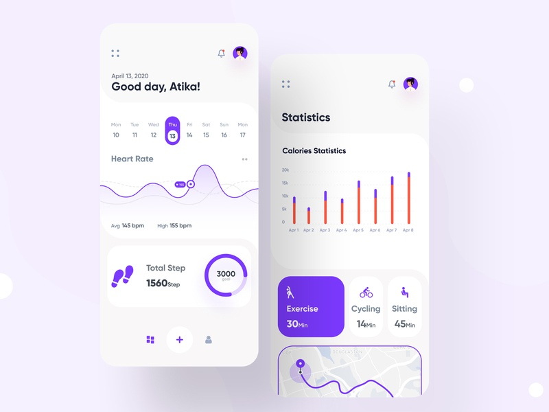 Fitness App minimal social application running interface icon exercises cycling ux ui statstics schedule mobile ios healthcare health graphic fitness app fitness app activity