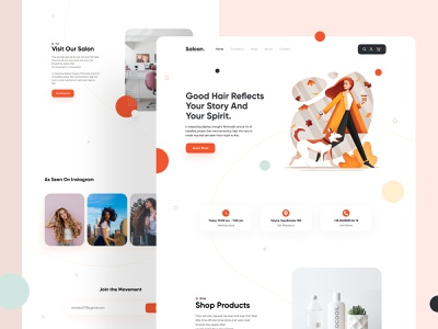 Saloon - Landing Page boutique make up girl illustration beauty salon interaction illustration hair beauty salon website webdesign ux uidesign ui minimal layout landing page clean ui clean minimalistic
