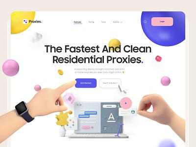 Proxies trend 2020 saas product design hero header 3d landing page 3d illustration 3d hand 3d design header landing page layout illustration 3d interaction clean ui app minimal clean ux ui