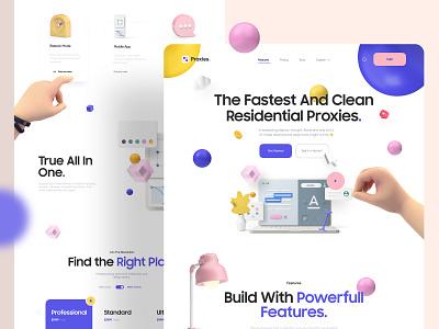 Proxies Landing Page flat web website design 2d typography 3d icons 3d art 3d landingpage uidesign ios clean ui app design interaction minimal clean app ux ui