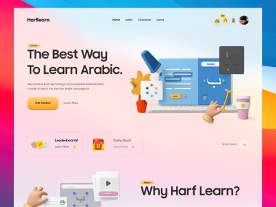 Harflearn - Header Exploration web ui hero header 3d art big sur cute clean ui app design clean app ux ui learning app learning platform alphabet 3d blur game badge leaderboard gamification