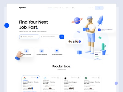 Job Portal Header Exploration product design webdesign trend 2021 trendy design minimalism dribbble best shot find job job portal 3d exploration header uidesign layout landing page clean ui interaction minimal clean ux ui