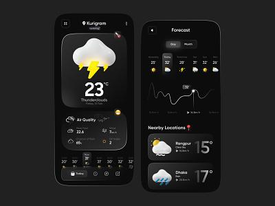 Weather Forecast web product design mobile app dribbble best shot gradient dark mode 3d forecast weather widget weather app app design ios app apple uidesign layout ios interaction app ux ui
