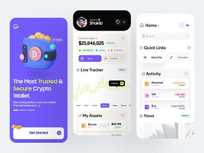 Crypto Wallet App mobile design mobile app ios fintech crypto illustration illus 3d banking user interface finance design app design clean ui minimal clean app ux ui dashboard