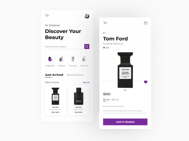 Cosmetics & Beauty Products Store beauty product cosmetics makeup app home screen home page mobile figma