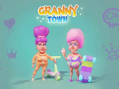 Granny Town branding 2dart art for game ui logo character woman character design cartoon style 2d art