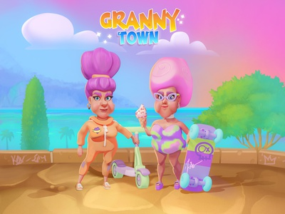 Granny Town ui house 2d art 2dart illustration cartoon style landscape character woman art for game character design