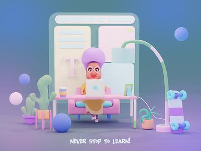 Never stop to learn! app design web website webdesign 2d art illustration branding cartoon style ui