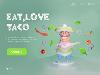Taco Web Page mobile ui product product design website design webdesign website branding design ui character design cartoon style illustration
