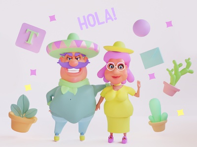 Mexican cartoon characters illustration app design product design products cactus blender3d mobile 3d illustration ui cartoon style 2d art