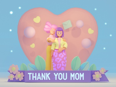 Mother Day Card 3d illustration 3d art mothers day logo ux design app design 2dart character design cartoon style illustration 2d art