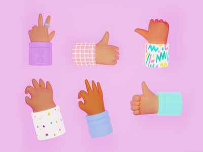 Cool Hands Collection 3d icon icon set 3d illustration 3d art 3d modeling icon ux vector character woman app design hands 2dart art for game ui cartoon style illustration
