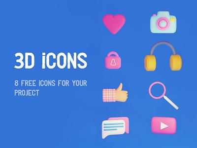 3D Icons set icon design icons pack icons ux typography vector 2d art art for game app design design logo branding ui