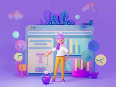 3D illustration Working Space mobile app mobile app design mobile ui uxdesign ui design uiux 3dillustration 3d 2d art illustration character design art for game branding design app design ui