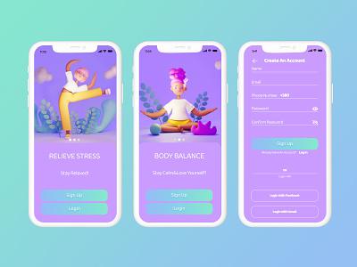 Yoga Meditation App animation 3d branding design art for game ui