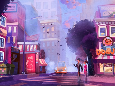 Illustration for cosial game for mobile Flitter Mouse landscape architecture house 2dart