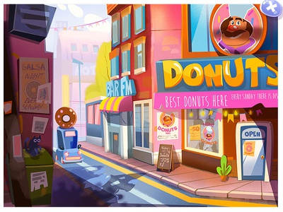"Illustration  ""Donuts Town""   ( game for mobile) 2d art illustration"