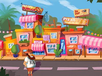 City walk - funny cartoon project for runner game 2d art illustration