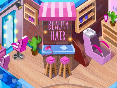 Isometric art. Interior design for one game company art for game pink 2d art  cartoon  isometric