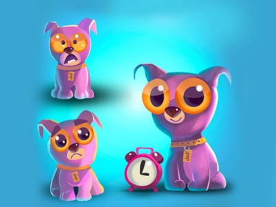 Tiny Dog Jack cartoon style 2dart character design
