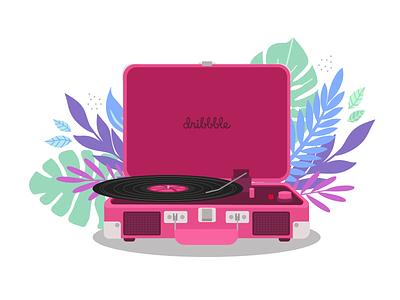 Hello, Dribbble! player record vynil floral debutshot debut dribbble adobe illustrator flat vector design illustration