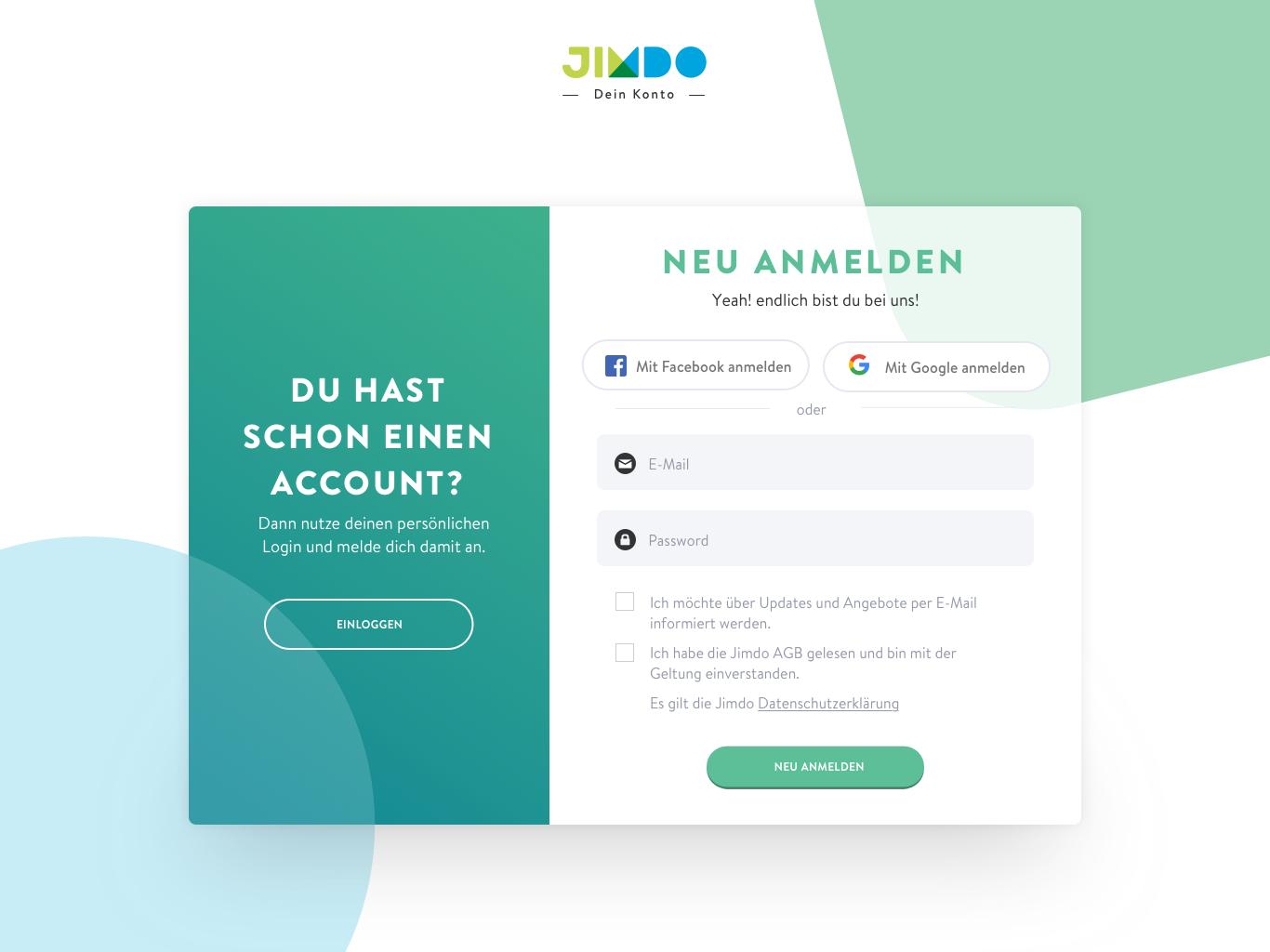 Register jimdo user account