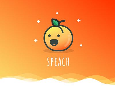 Speach cute wave peach sketch illustration