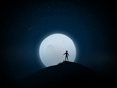 Moon & Man dark moon daily sketch illustration