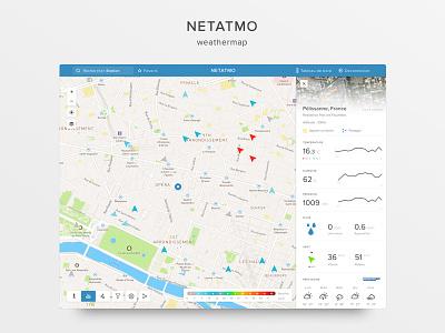 A new look for Netatmo Weathermap map sidebar dashboard weather data clean ux ui website app web
