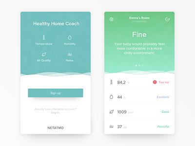 Healthy Home Coach - Netatmo homekit iot ios sign up icon button dashboard ux mobile clean ui app