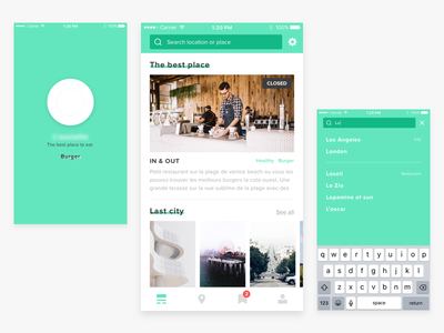 Cookmap - Mobile splash search tapbar white list food sketch simple restaurant ux ui app