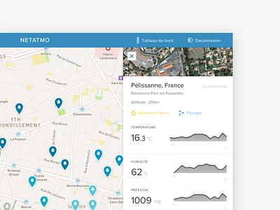Weathermap - NETATMO product ux panel sidebar dashboard iot web app weather map ui
